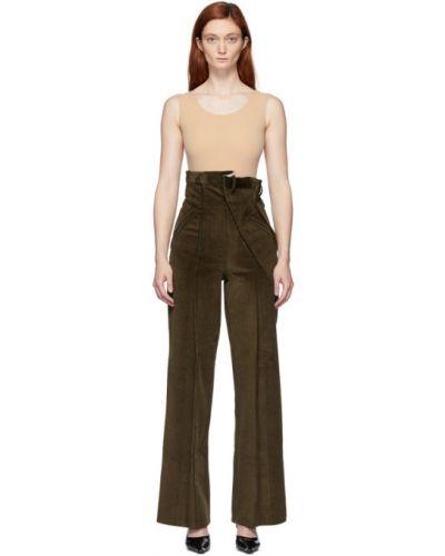 Брючные брюки с поясом хаки вельветовые Situationist