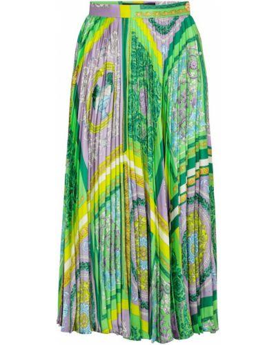 Плиссированная сатиновая юбка миди Versace