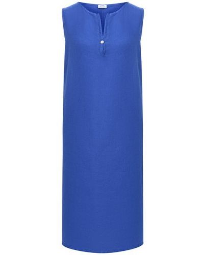 Льняное прямое платье без рукавов с вырезом La Fabbrica Del Lino