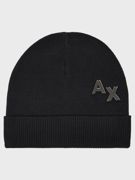 Хлопковая черная шапка Armani Exchange