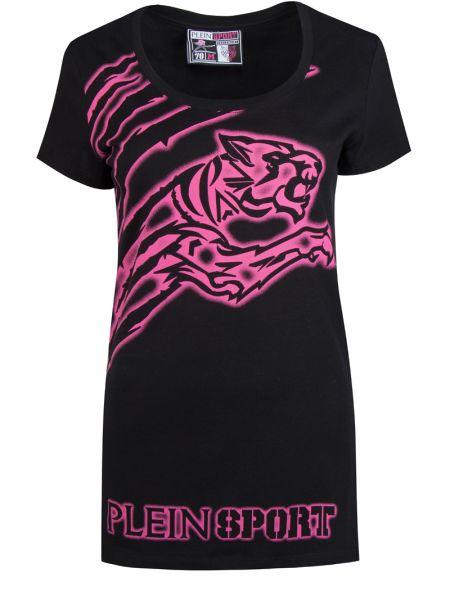 Хлопковая короткая с тигром черная футболка Plein Sport