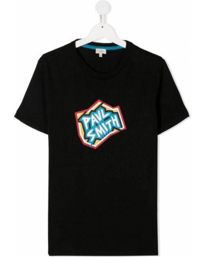 Прямая хлопковая черная рубашка с короткими рукавами Paul Smith Junior