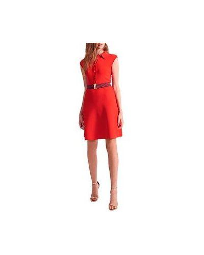 Деловое платье из вискозы красный Luisa Spagnoli