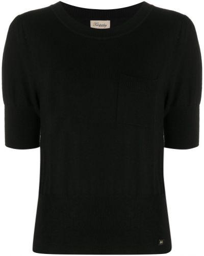 С рукавами шерстяной черный джемпер с круглым вырезом Temperley London