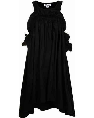 Черное платье миди без рукавов с оборками Comme Des Garçons Noir Kei Ninomiya