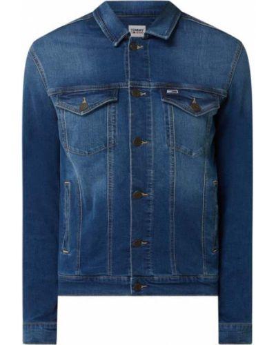 Niebieski bawełna kurtka jeansowa z paskami Tommy Jeans