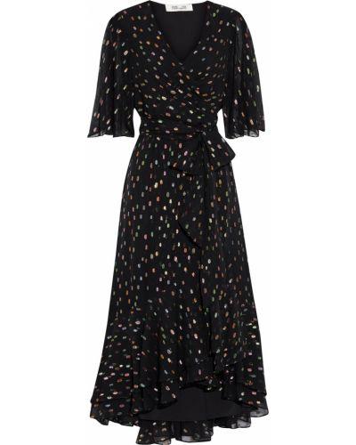 Шифоновое черное платье миди с подкладкой Diane Von Furstenberg