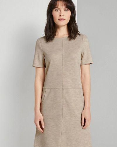 Прямое бежевое платье Tom Tailor
