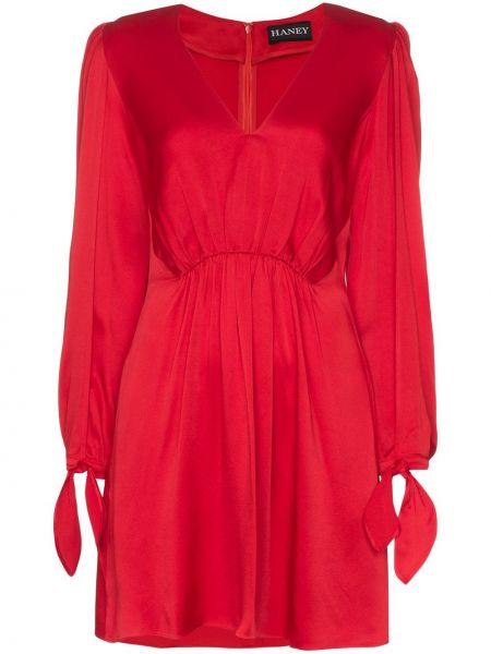 Плиссированное красное платье на молнии из вискозы Haney