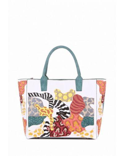 Белая кожаный сумка Alba Soboni
