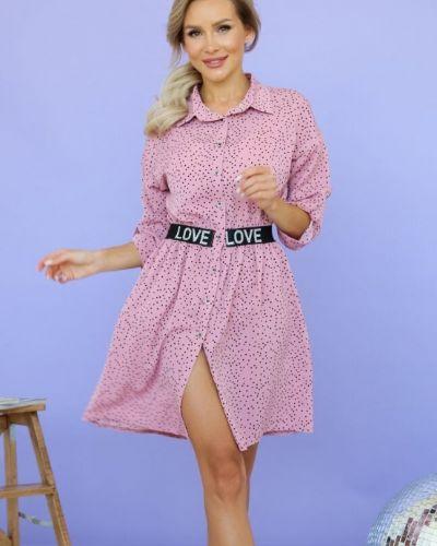 Деловое с рукавами платье-рубашка на резинке Ellcora