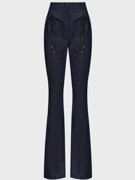 Хлопковые синие джинсы на молнии Nina Ricci