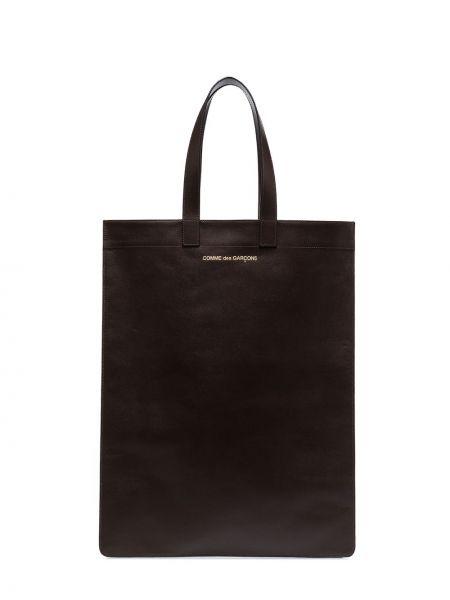 Открытый коричневый кожаный кошелек квадратный Comme Des Garçons Wallet