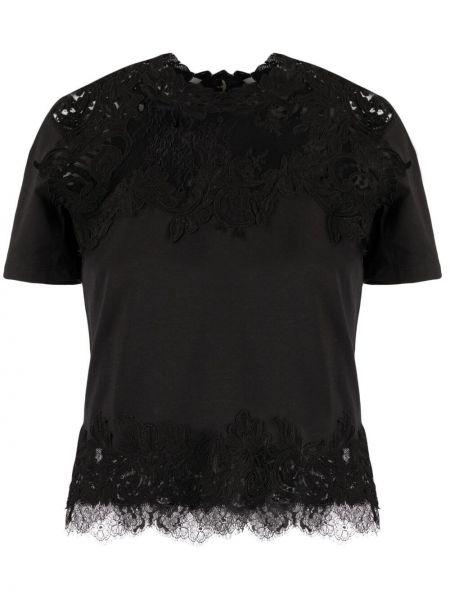 Трикотажная черная футболка с вырезом Ermanno Scervino