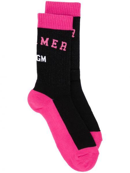 Хлопковые черные носки в полоску Msgm