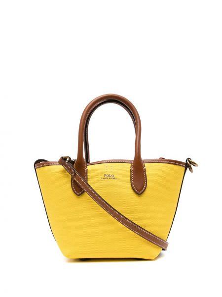 Żółta złota torebka z printem Polo Ralph Lauren