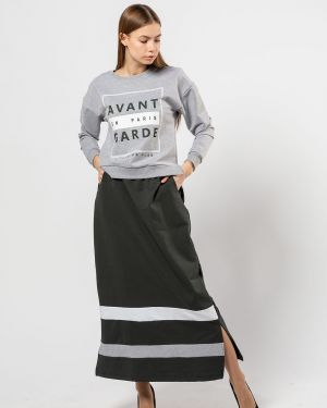 С рукавами хлопковая серая юбка Samo