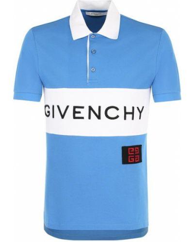 Синее поло с коротким рукавом Givenchy