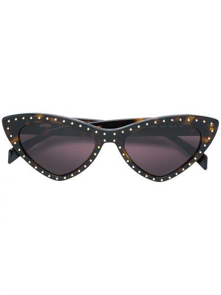Прямые муслиновые классические солнцезащитные очки хаки Moschino Eyewear