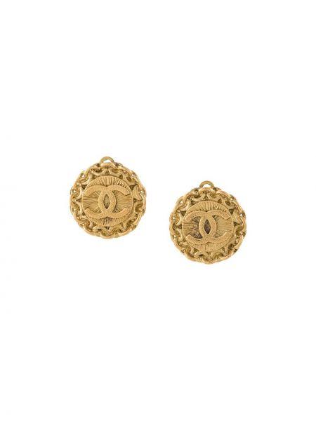 Золотистые желтые серьги-гвоздики Chanel Pre-owned
