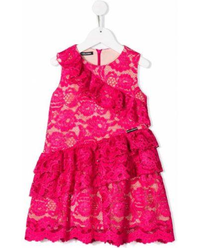 Ажурное розовое платье с рукавами Marco Bologna Kids