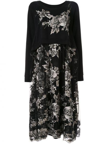 Czarna sukienka midi z długimi rękawami z wiskozy Antonio Marras