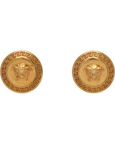 Гипоаллергенные серьги-гвоздики золотые Versace