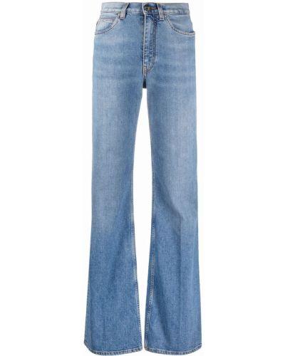 Синие джинсы клеш с вышивкой на шпильке Etro