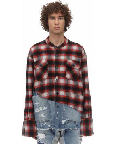 Niebieska koszula jeansowa bawełniana w kratę Greg Lauren