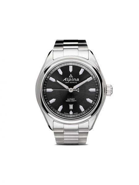 Серые кварцевые часы круглые Alpina