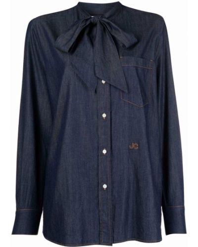 Синяя джинсовая рубашка длинная Jacob Cohen
