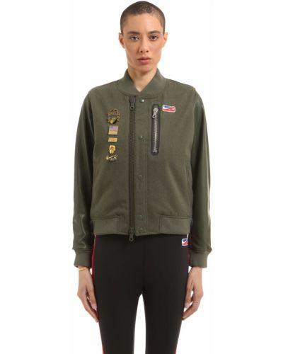 Кожаная куртка с воротником - зеленая Nike