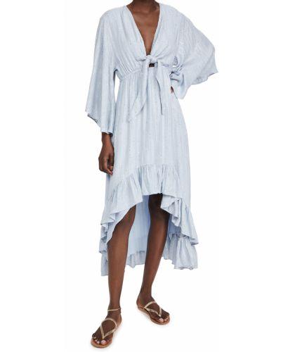 Синее платье макси в полоску с длинными рукавами Sundress