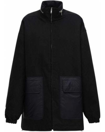 Bawełna czarny płaszcz z kapturem z kieszeniami z mankietami Rick Owens