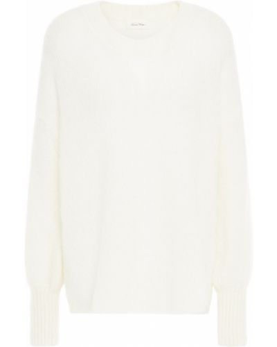 Шерстяной белый вязаный свитер American Vintage