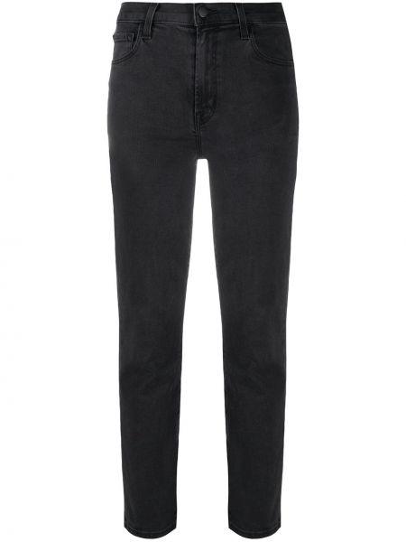 Ватные хлопковые серые укороченные джинсы стрейч J Brand
