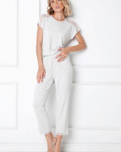 Szara piżama krótki rękaw z wiskozy Aruelle