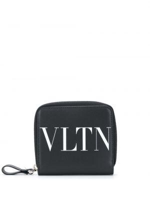 Czarny portfel skórzany z printem Valentino Garavani