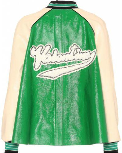Кожаная куртка зеленая Valentino