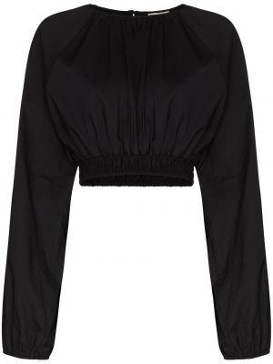 Льняная черная блузка круглая Matteau