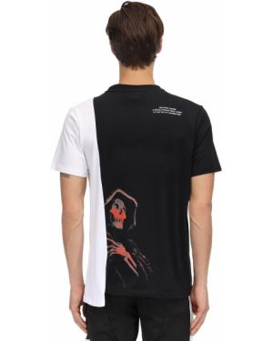 Czarny t-shirt bawełniany asymetryczny Renowned La