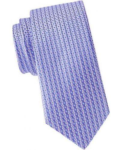 Fioletowy krawat z jedwabiu z haftem Eton