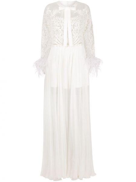 Шелковое белое платье макси с перьями Zuhair Murad