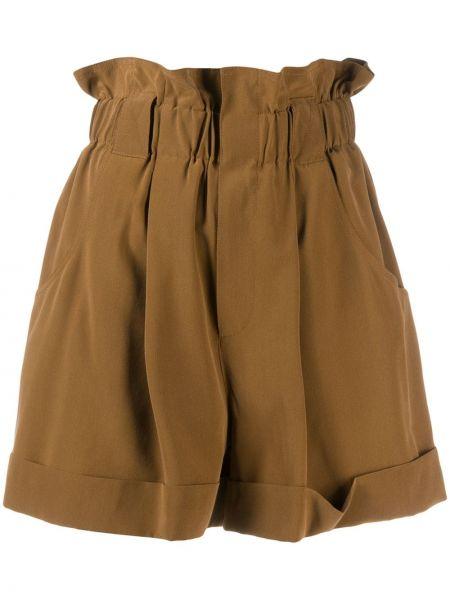 Шелковые коричневые шорты с карманами Fendi
