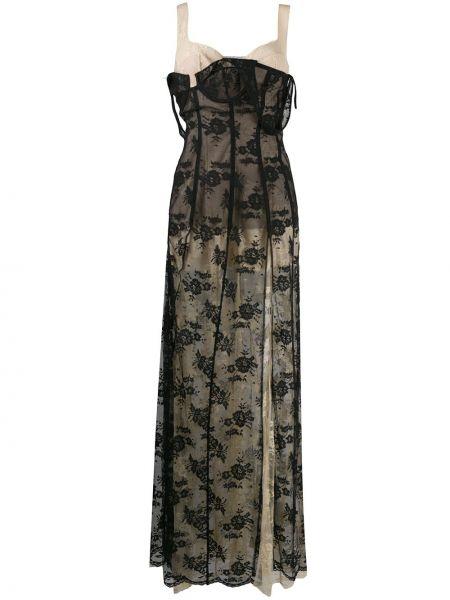 Кружевное черное платье макси без рукавов Natasha Zinko