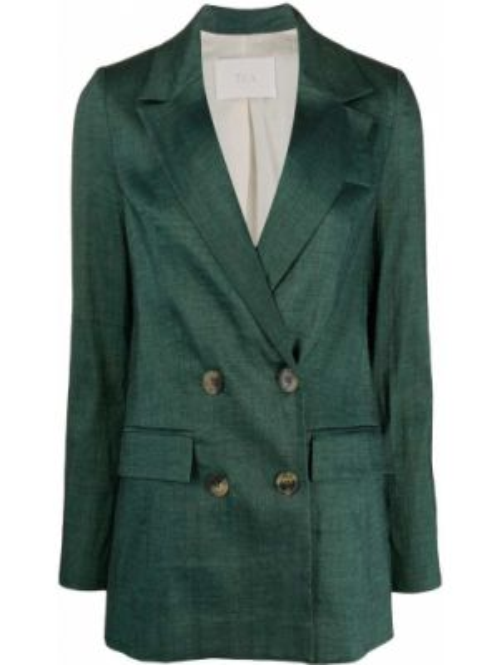 Льняной удлиненный пиджак двубортный с карманами Tela