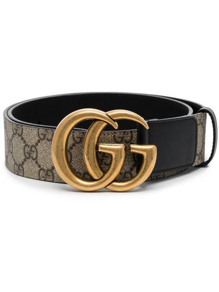 Pasek złoto z prawdziwej skóry z paskiem Gucci