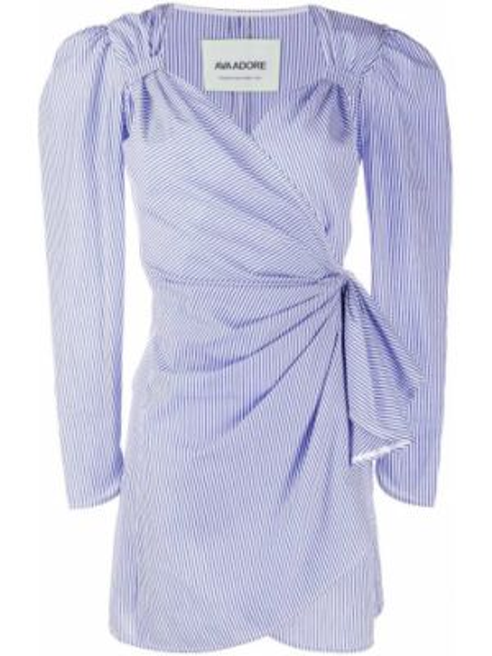 С рукавами хлопковое синее платье мини с запахом Ava Adore