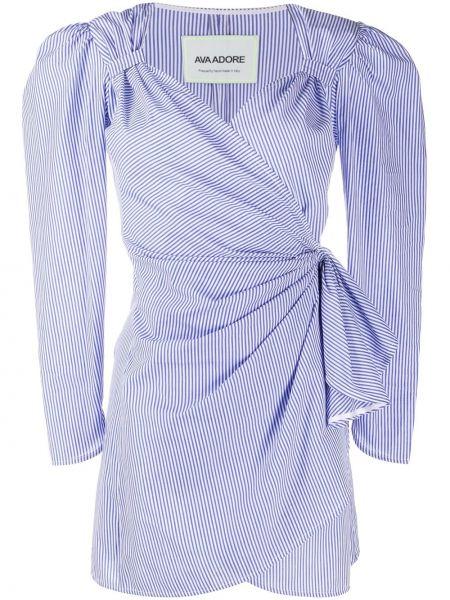 С рукавами синее платье мини с запахом Ava Adore