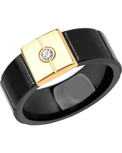 Кольцо с бриллиантом - черное Sokolov